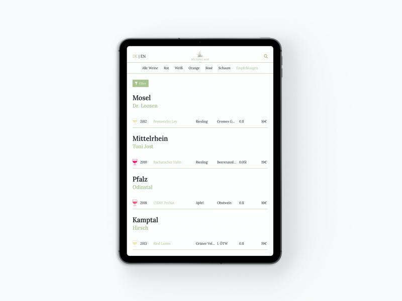 Digitale Weinkarte als App auf dem iPad Tablet: Agents.Menu Übersicht Wein