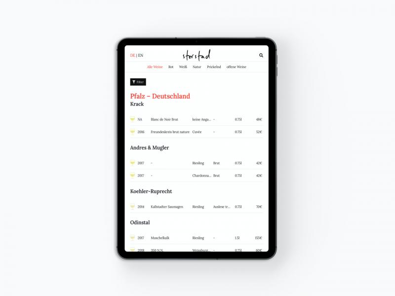 Digitale Weinkarte als App auf dem iPad Tablet: Agents.Menu im Restaurant Storstad