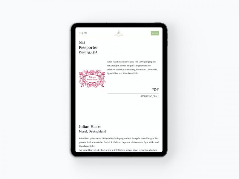 Weinkarte als App: Winzer-Detailseite