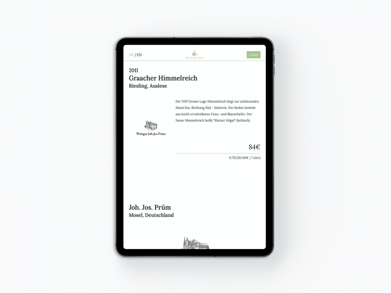 Digitale Weinkarte als App auf dem iPad Tablet: Agents.Menu im Söl'ring Hof Sylt